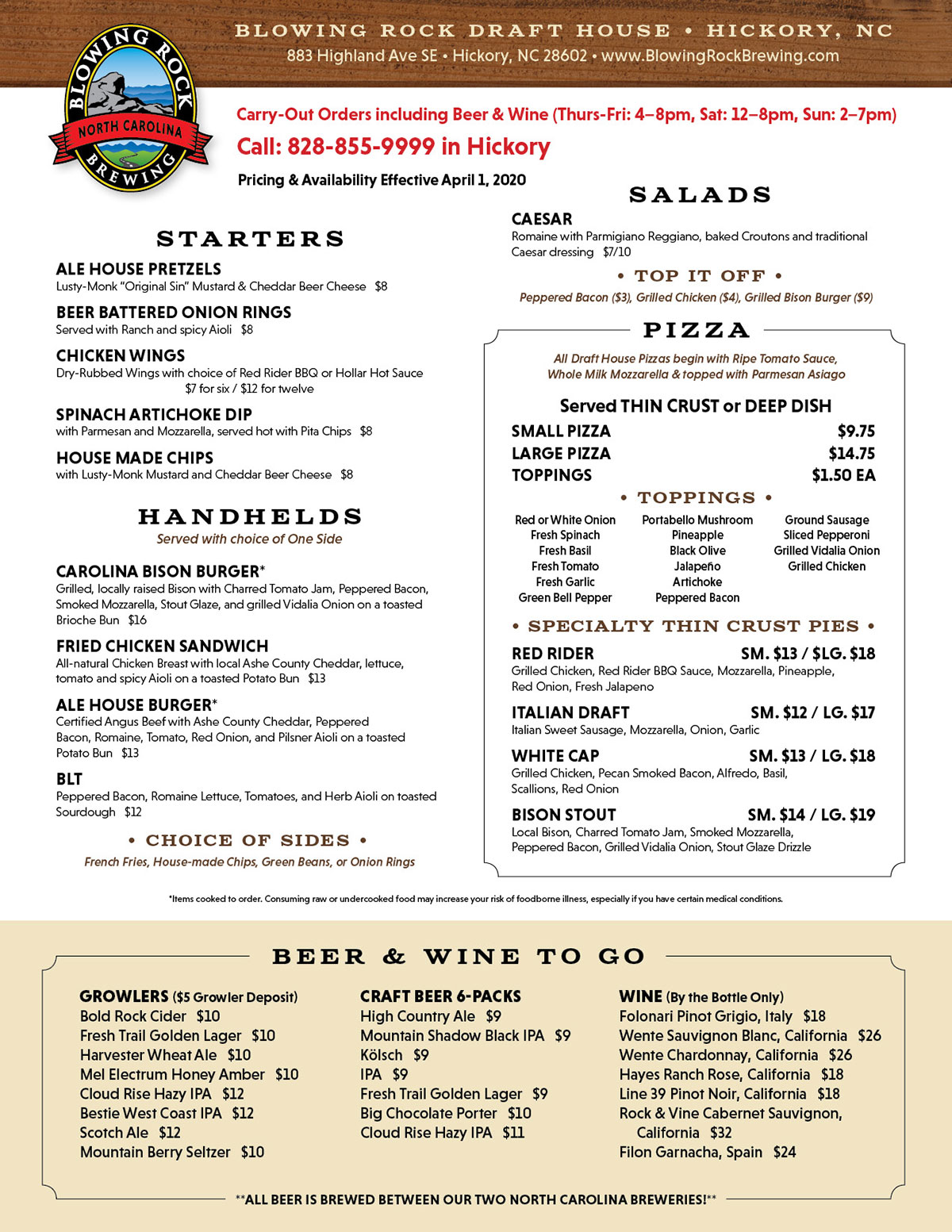 Blowing Rock Draft House Carry-out Menu