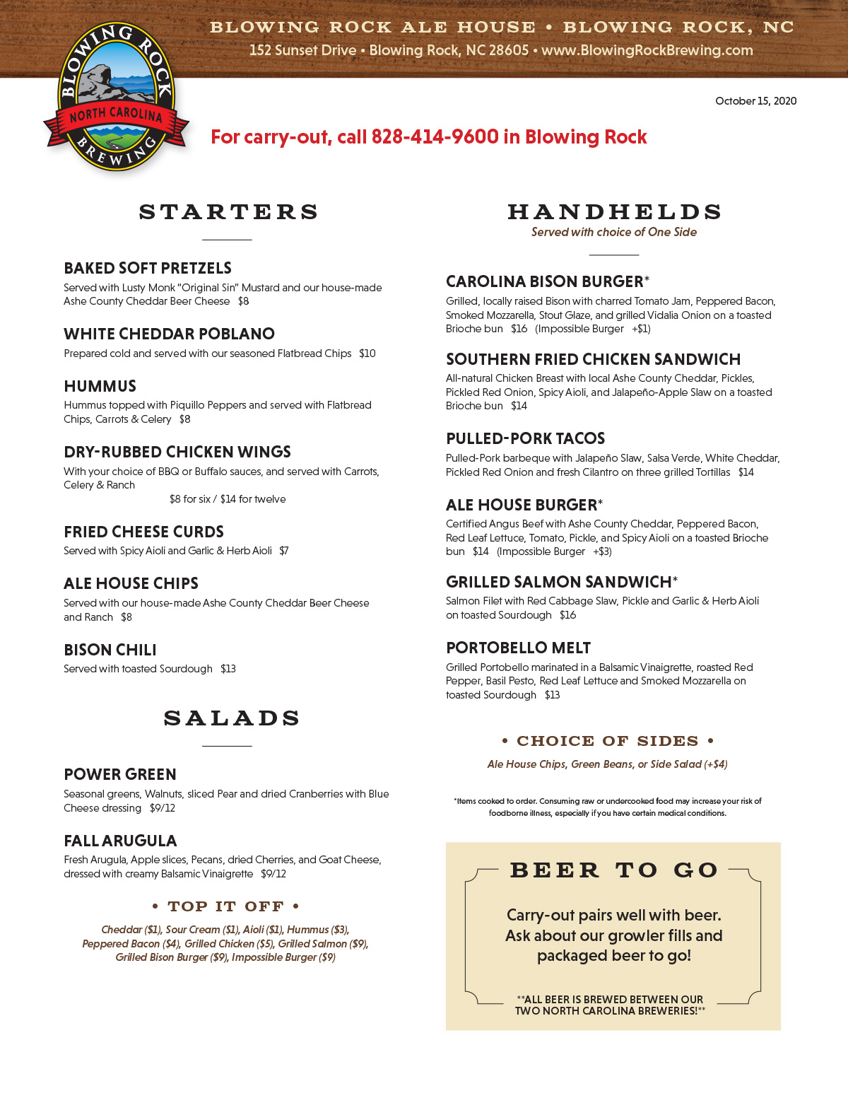 Blowing Rock Ale House Menu
